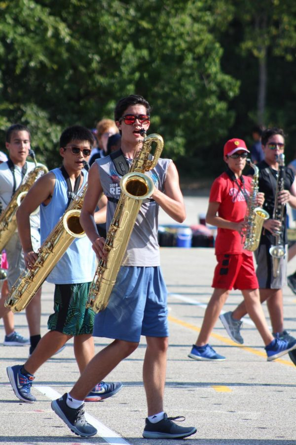 Marching Band members hard at work durning summer camp.