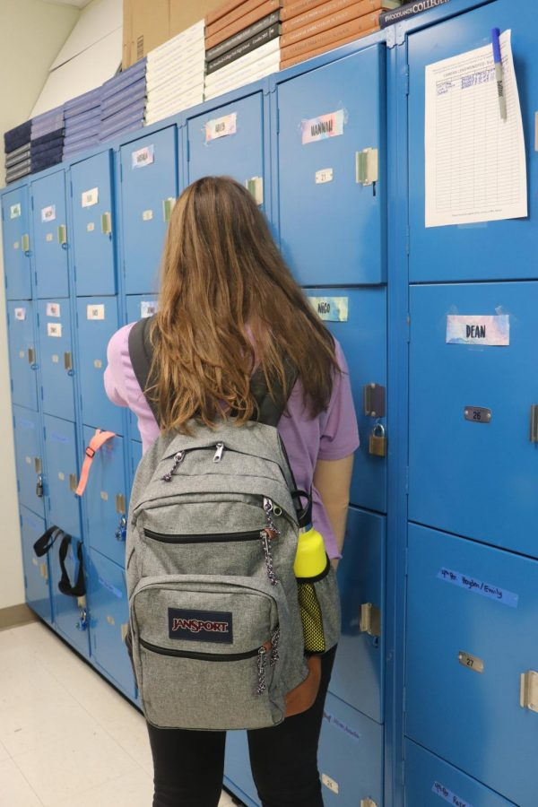 Students have backpacks that are full of books and items.