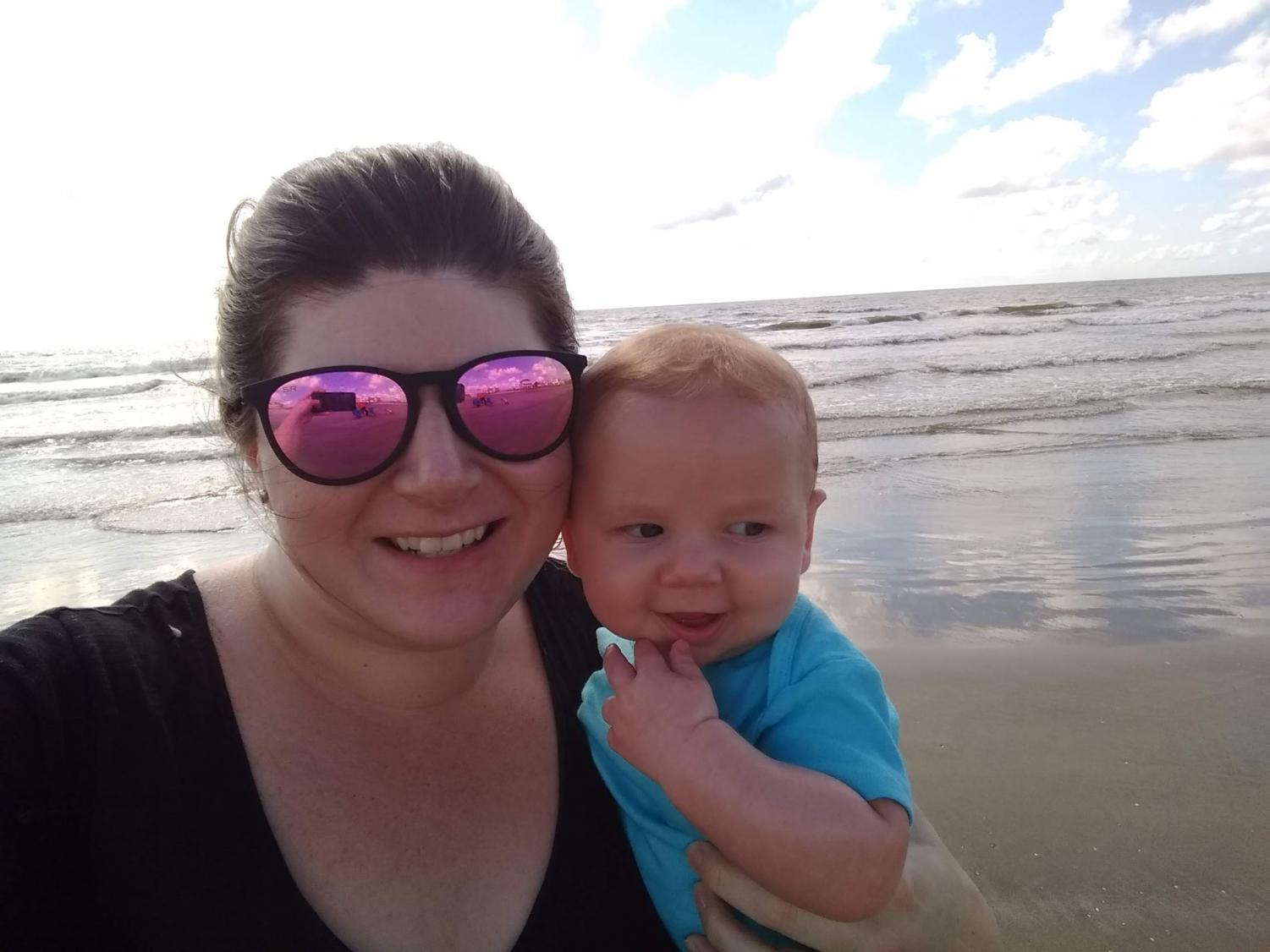 Kim McFarland At The Beach With Her Son