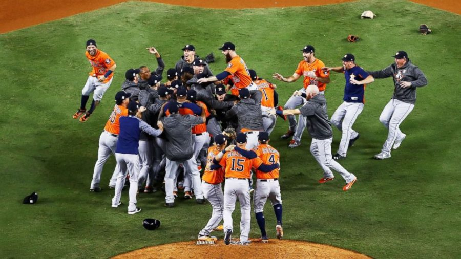 The Astros celebrating after winning Game 7 of the World Series.