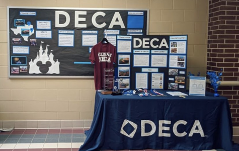 DECA booth set up for the school's Ramp-Up
