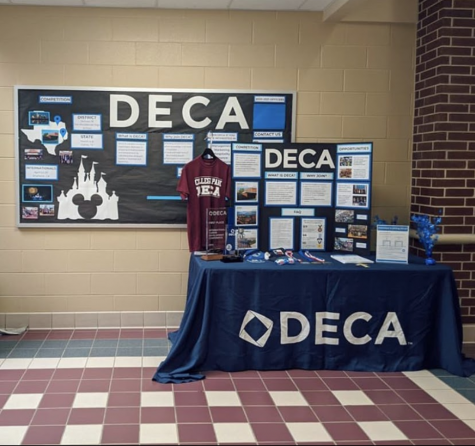 DECA booth set up for the school